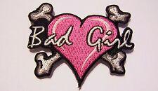 #0032 XS Motorcycle Vest Patch BAD GIRL HEART & CROSS BONES lady rider / biker