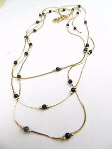 VINTAGE-GOLD-PLATED-BLACK-BEAD-3-ROW-CURB-LINK-LADIES-NECKLACE
