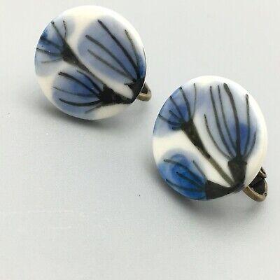 A PAIR OF  LONG DANGLY BLUE//WHITE PORCELAIN FLOWER BEAD CLIP ON EARRINGS NEW.