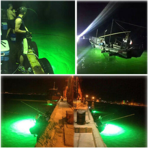 DC 12V 30W LED Green Underwater Submersible Fishing Light 2400LM Squid Lamp Sale