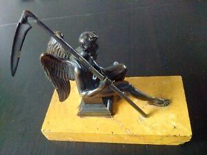 Rare Le Temps CHRONOS au sablier bronze belle patine XIXème siècle socle marbre