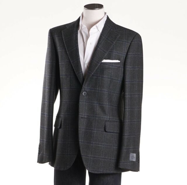 e9b8b182748 NWT  1895 BELVEST Dark Green-Blue Check Wool-Cashmere Sport Coat 42 ...