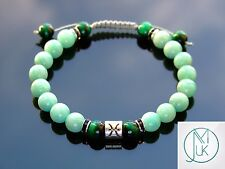 Pisces Amazonite Tigers Eye Birthstone Bracelet 7-8'' Macrame Healing Stone