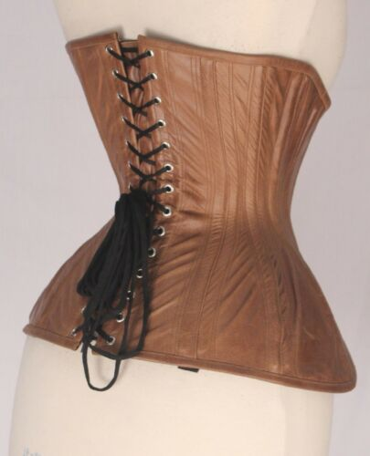 Antique Brown Real Pure Leather Corset Steel Bones Lace Up Under bust 2XS~7XL