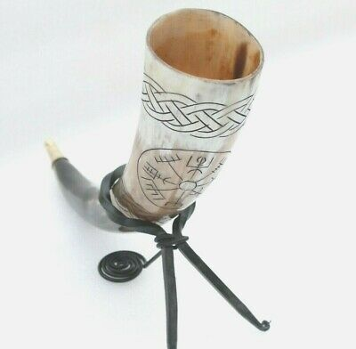 Vegvisir engraved ale beer Viking drinking horn with hand forged metal stand