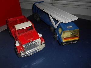 Camion-Pompier-style-Joustra-et-Bronco-en-Tole-Ancien-pour-pieces
