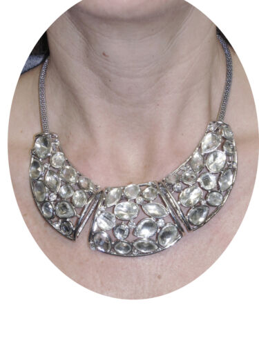 NEW 6276 Diamante Plate on Mesh Rope Necklace Silver