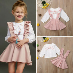 0946c147500a UK 2PCS Toddler Kids Baby Girl Winter Clothes Ruffle Tops+Overall ...