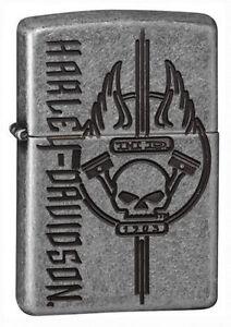 Zippo 29280, Harley Davidson-Skull, Antique Silver Plated Armo Lighter
