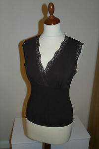 Morgan-Women-039-s-Ladies-Coffee-Brown-Sleeveless-Lace-Trim-Top-Size-10