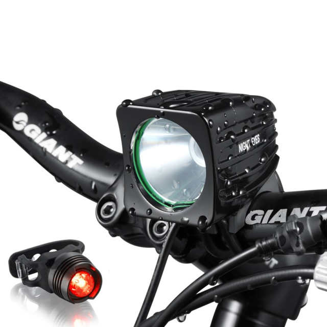 MTB Bike LED Front Light Night Cycling Headlamp Rechargeable 8.4V Battery Pack A