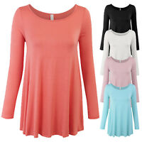 Women's Long Sleeve Boat Neck Loose Fit Basic Knit Tunic Top Made in USA S,M,L