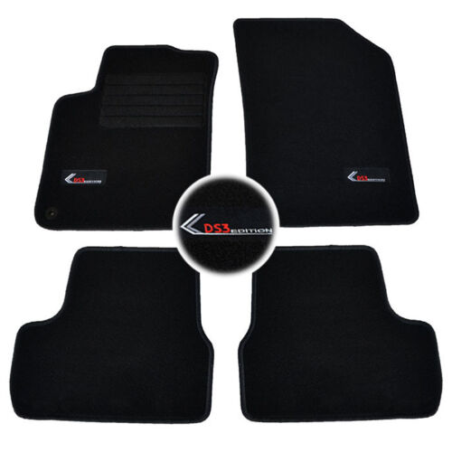 4 TAPIS SOL CITROEN DS3 ULTRA RACING S LOEB JUST MAT MOQUETTE LOGO SPECIFIQUE