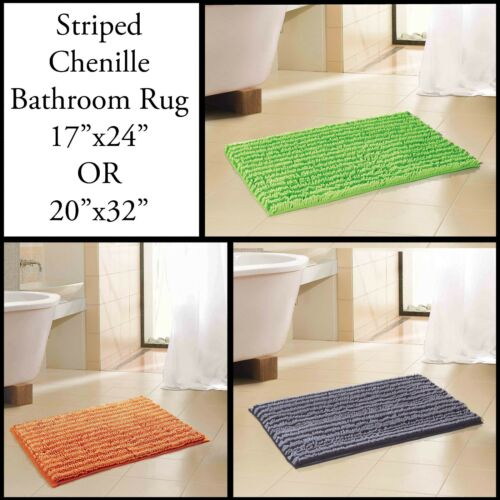 Green Orange Lime Gray 2 Sizes Black 2-tone Chenille Bathroom Mat//area Rug