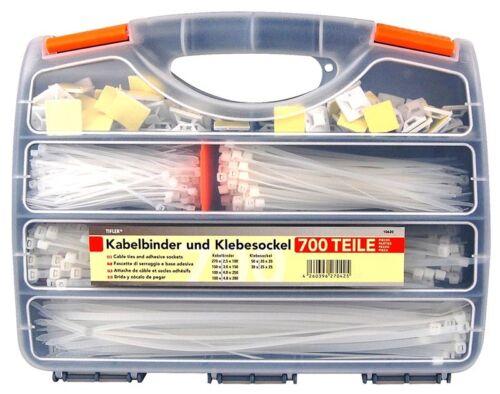 Fascette per cavi e socket ADESIVA IN VALIGIA 700 pezzi assortimento di tifler