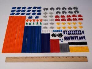 215-MICRO-KNEX-Parts-Pieces-Lot-Mini-Rods-Connectors-Red-Black-Blue-Gray-Orange