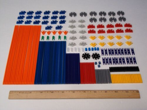 215 MICRO KNEX Parts//Pieces Lot Mini Rods Connectors Red Black Blue Gray Orange+