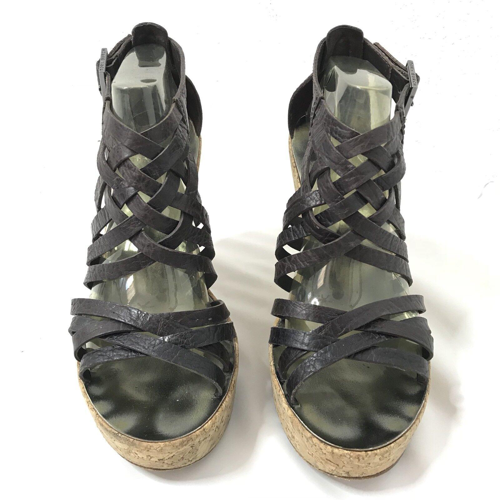 Tory Burch Cork Wedges Platform Heel Leather Cross Strap Women's Women's Women's 9.5 451d72