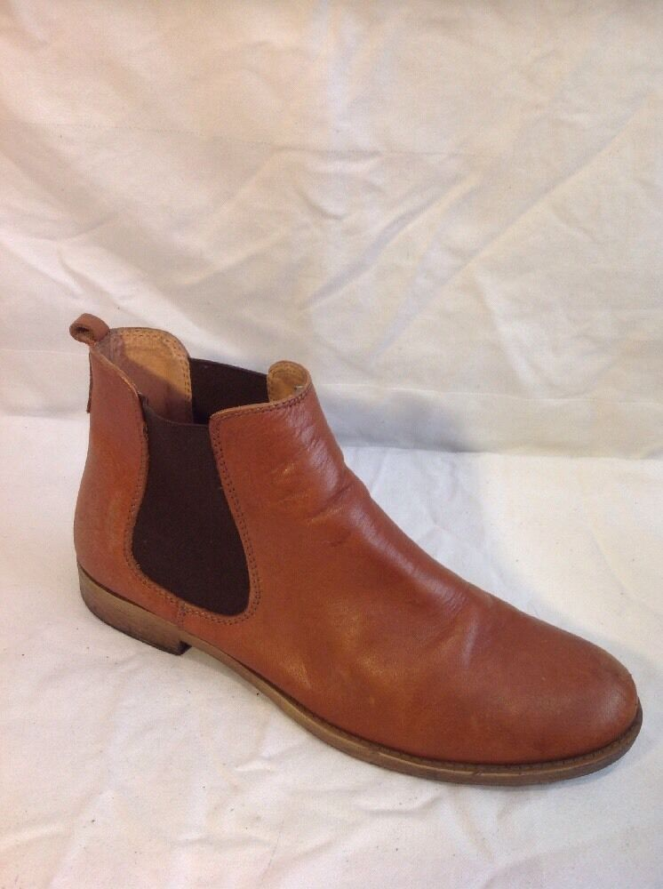 Dune Brown Ankle Leather Boots Size 39
