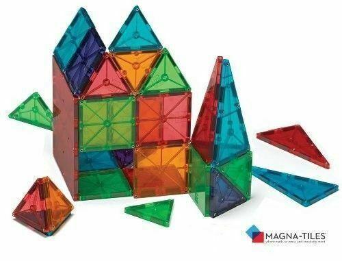 NEW 100-Piece Clear Multi Colors Magnetic Tiles Building Set Car /& Carrying Bag