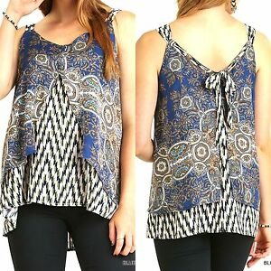 Umgee Top Size XL S M L Black Tribal Free Boho People Womens Boutique Shirt New