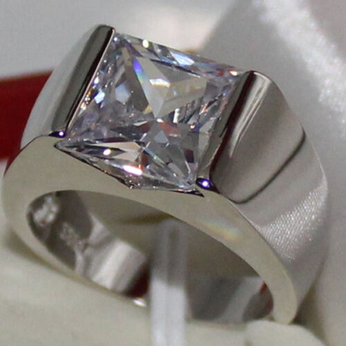 Eternity Mens Radiant White Sapphire Silver Stainless Steel Ring Size 8-12