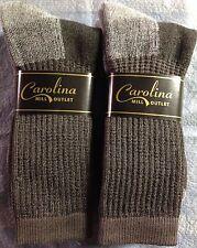 2pr Men's PREMIUM Merino Wool Crew Boot Socks GRAY/BRN w/ Arch Support XL 12-14