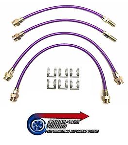 Stainless Braided Brake 4 Lines Hose Set Purple - For R33 GTS-T Skyline RB25DET