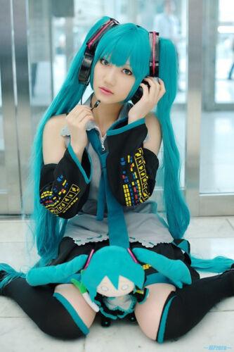 Vocaloid Hatsune Miku Cosplay Costume All Size Anime Manga Dress and Wig