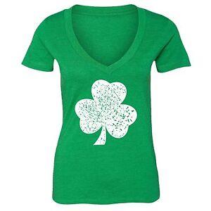 St-Patrick-Day-shirt-Shamrock-Clover-Irish-Women-V-neck-T-Shirt-Tee-Green-12