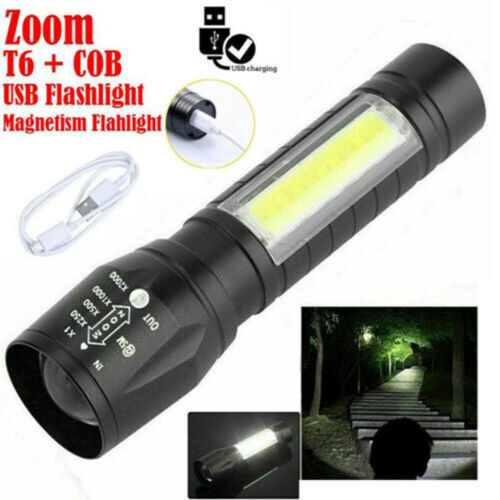 Portable T6 COB LED Flashlight Torch 18650 USB Lamp Light Camping Rechargeable