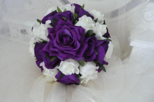 L mariage adulte demoiselle d/'honneur petite brides bouquet dans Cadburys Violet Et Ivoire