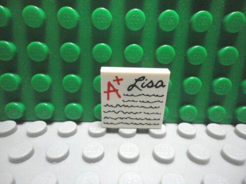 Lisa and Writing NEW Lego 1 White 2x2 Tile printed with A