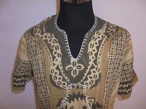 vintage 80s Hemd tiger safari native crazy pattern shirt Leinen Freizeithemd L
