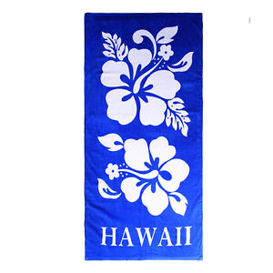 Hawaii Beach Towel 100% Cotton Large 60x30 Blue Giant Double White Hibiscus