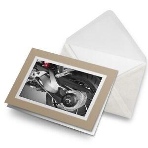 Greetings-Card-Biege-Motorbike-Wheel-Biker-Sports-Bike-16995