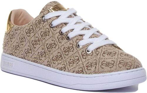 Guess Fl7Ct2Fal12 Womens Canvas Trainer In Beige Size UK 3-8