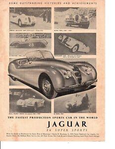 1952 JAGUAR XK SUPER SPORTS ~ ORIGINAL PRINT AD