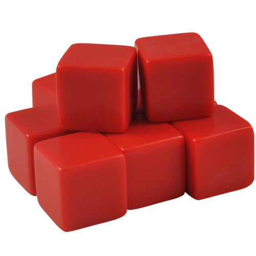 Set of 10-16mm Counting Cubes Blank Opaque Dice Red Organza Bag