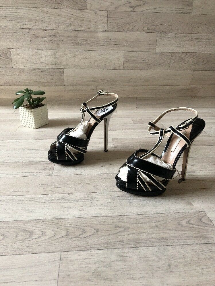 NEW Nicholas Kirkwood Schuhes High Heel MONOCHROME strappy heels Leder EU37/uk4 MONOCHROME Heel b9135b