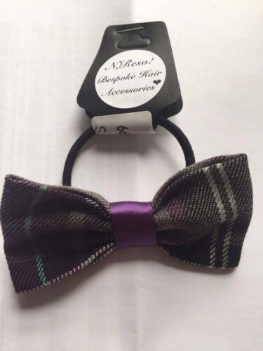 Girls//Womens Hair Accessories Purple//Grey Tartan Headband//Bow Clips