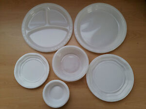 Image is loading Plastic-Disposable-Plates -Bowls-Cutlery-White-Party-Wedding- & Plastic Disposable Plates Bowls Cutlery White Party Wedding Event ...