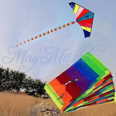 10M Super Nylon Rainbow Kite Tail Line Colourful Accessory Kids Toy