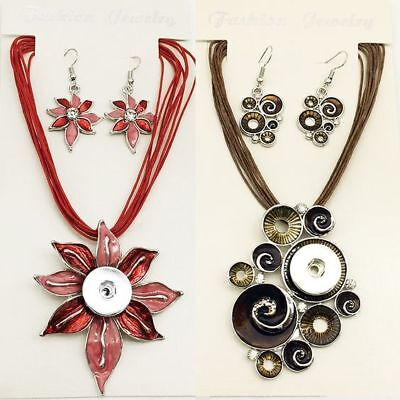 Noosa Ginger Style Snap Button Necklace Earring Pendant Sets Fit 18//20mm Chunks