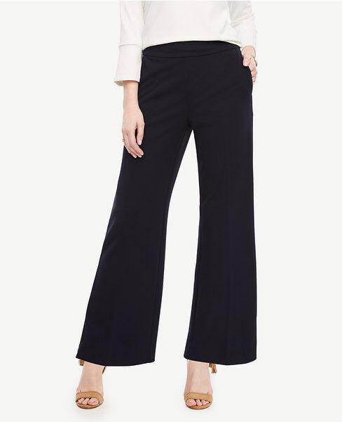 Ann Taylor Sz 2 Tall Wide Leg Pant in Knit Crepe Atlantic Navy bluee NWT