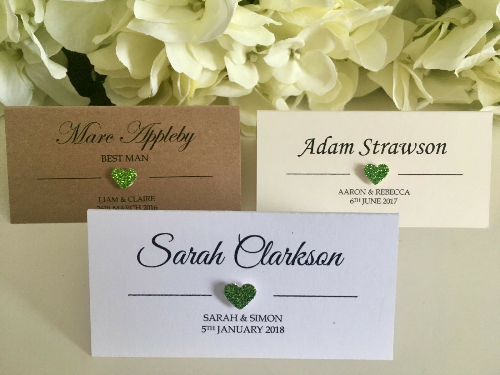 Lime Ivory Grun Glitter Heart Personalised Wedding Place Cards Weiss Kraft Aa248f