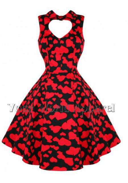 H&R LONDON BLACK RED HEARTS PINUP SWING 1950's  DRESS VINTAGE ROCKABILLY 6904