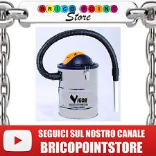 BIDONE ASPIRACENERE VIGOR ASPIR-EL INOX LT.15 WATT 800 FUSTO ACCIAIO E TUBO FLEX
