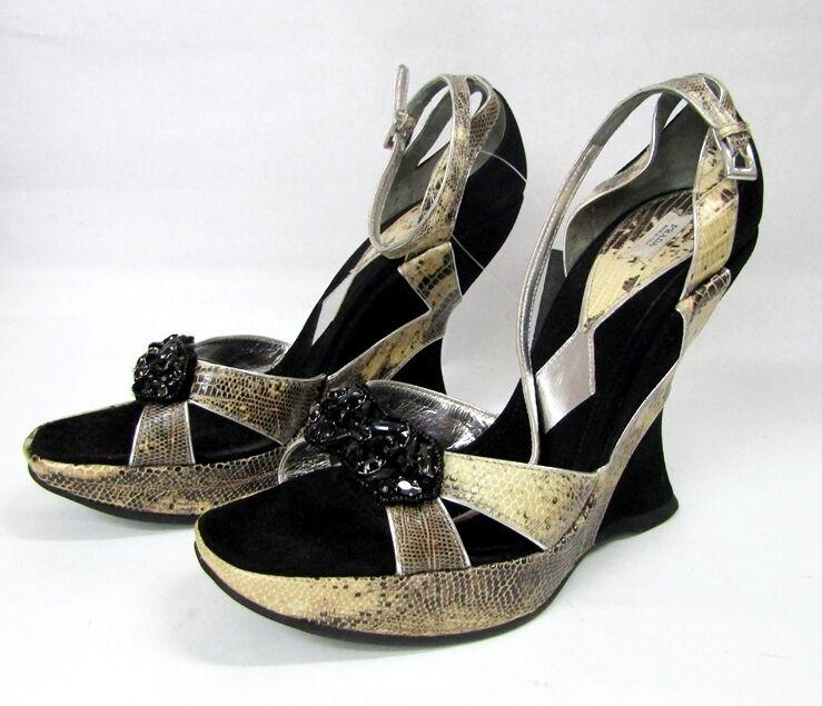Prada Sandalias De Plataforma Curvo Cuñas De Gamuza Gamuza Gamuza Negra Python Plataforma 39.5 9.5  oferta de tienda