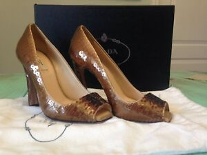 PRADA Rose Champagne Ombre Fish Scale Sequin Open Toe ... High Heel ... Toe 728f08